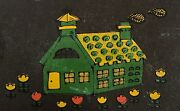 Vintage Brown Serving Tray W/ Green House And Cottage 1970 Colors Pressboard