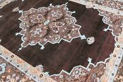 Medallion 8and039x10and039 Hand Knotted Oxidize Persian Antique Old Style Silk And Area Rugs