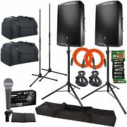 Jbl Eon615 15 Powered Active 2 Way Dj Pa Loud Speakers W Stands Covers Sm58 Mic