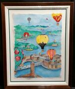 Linnea Pergola Original Watercolor And Ink On Paper And039balloons Over Stockholmand039