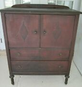 Antique Tall Boy Chest 5 Drawers 2 Doors On Wheels Dark Wood Tone From 1900s