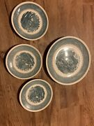 4 Currier And Ives Anchor Hocking Usa Ironstone Blue White Plates Set