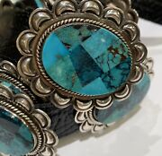 Navajo Natural Inlay Turquoise And Sterling Concho Belt
