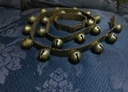 Antique Brass Sleigh Bells 21 With Original 52 1/2andrdquo Leather Harness Strap