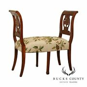Antique French Country Carved Fruitwood Bench With Crewelwork Seat