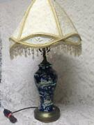 Vintage Royal Winton Variant Gaudy Blue Willow Electric Tablelamp 26t X 13.5inw