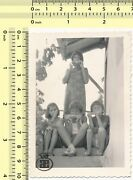037 1950and039s Girls Eating Corn On Stairs Kids Children Portrait Vintage Photo