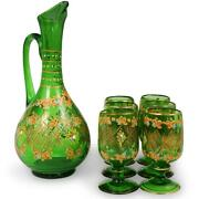 Glass Pitcher And Glasses 7-piece Hand Painted Green Gorgeous Vintage