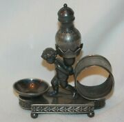 Rare Silver Plated Napkin Ring Salt Cellar Pepper Simpson Hall Miller And Co