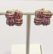 Vintage 14ct Ruby And Diamond Cluster Earrings