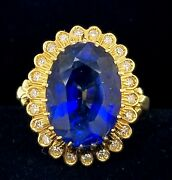 8.07ct. Vintage 18k Yellow Gold Ring Gem Blue Sapphire Oval