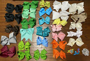 Girls Xl Large And Medium Multi Color Hair Bows 29 Lot - New And Pre-owned Euc