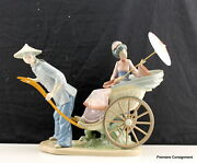 Lladro Figurine 1383 Rickshaw Ride A Ride In China With Wooden Stand