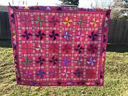 New Dark Pink Lady Bugs And Flowers Handcrafted Baby Lap Crib Quilt 46 X 52
