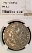 1933 Peru Silver Sol Seated Liberty Ngc Ms 62 Very Scarce Key Date Low Mintage