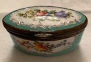 Antique 18th Century Oval Enamel Decorated Staffordshire Hinged Patch Box And Co
