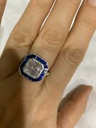 Antique Vintage 925 Silver Ring With Blue Topaz And Sapphire. Very Elegant.