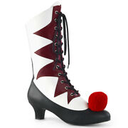 Pleaser Funtasma Womenand039s It-120 Lace-up And Cotton Puff On Toe Mid-calf Boots