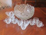 Vintage Le Smith Glass Daisy Hobstar And Button Punch Set With Ladle And 12 Cups
