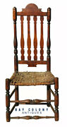18th C Antique Country Primitive William And Mary Tiger Maple Banister Back Chair