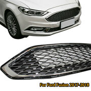 Black Andchrome Front Bumper Grille Honeycomb Mesh Grill For Ford Fusion 2017-2018