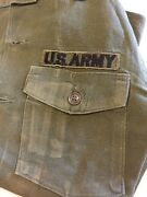 Vintage And Worn Wwii Vietnam War Usa Army Combat Shirt Solid Green Patches