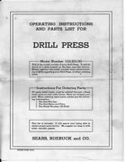 1950 Craftsman 103.23130 /king Seeley Drill Press Instructions Free Shipping