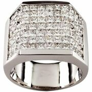 14.10 Carat Invisible Setting Cubic Zirconia 10k White Gold Menand039s Plaque Ring