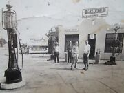 Vtg 1920's Williard Service Station Old Glass Globe Gas Pump And Cars Real Photo