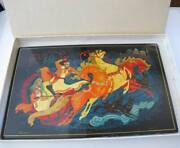 Russian Black Lacquer Plaque Hand Painted Troika Wild Ride Wolves Attack