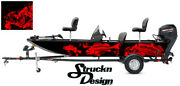 Graphic Abstract Fishing Bass Boat Wrap Decal Vinyl Pontoon Fish Skeletons Red