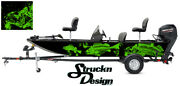 Graphic Abstract Fishing Bass Boat Wrap Decal Vinyl Pontoon Lime Fish Skeletons