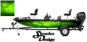 Graphic Abstract Fishing Bass Boat Wrap Decal Vinyl Pontoon Fish Skeletons Lime