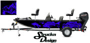 Graphic Abstract Fishing Bass Boat Wrap Decal Vinyl Pontoon Fish Skeletons Blue