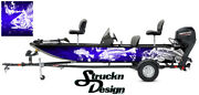 Graphic Abstract Fishing Bass Boat Wrap Decal Vinyl Pontoon Blue Fish Skeletons