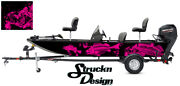 Graphic Abstract Fishing Bass Boat Wrap Decal Vinyl Pontoon Pink Fish Skeletons