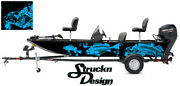 Graphic Abstract Fishing Bass Boat Wrap Decal Vinyl Cyan Pontoon Fish Skeletons