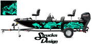 Graphic Abstract Fishing Bass Boat Wrap Decal Vinyl Pontoon Teal Fish Skeletons