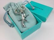 1985 And Co. Sterling Silver Floating Bow Brooch Original Pouch And Box Lg