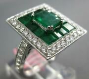3.4ct Diamond And Aaa Emerald 18k White Gold Round And Baguette Rectangular Fun Ring