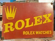 1930and039s Old Vintage Rare Red Rolex Watches Porcelain Enamel Sign Collectible