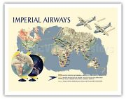 Imperial Airways - World Route Map 1937 Vintage Airline Travel Poster Art Print