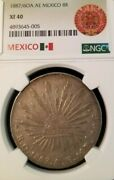 1887/6 Oa Ae Mexico Silver 8 Reales 8r Ngc Xf 40 Scarce Overdate Variety