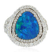 Memorial Day Diamond Engagement Ring 18k White Gold Doublet Opal Cocktail Ring