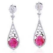 4.1ct Ruby 18kt Solid White Gold Pave Diamond Pear Shape Dangle Earrings Jewelry