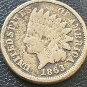1863 Indian Head Cent 1c One Penny Circulated 23589