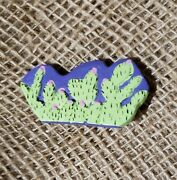 Unique Hand Painted Wooden Desert Cactus Plant Yucca Bloom Green Wood Pin Brooch
