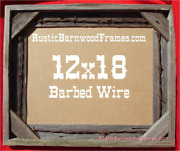 12x18 Barbed Wire Rustic Barnwood Barn Wood Picture Frame Weathered Upcycled