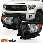 Fits 2014-2020 Toyota Tundra Trd Truck Black Headlights Lamps Replacement