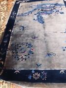 Antique Chinese Art Deco Rug Great ,beautiful Design And Colors.